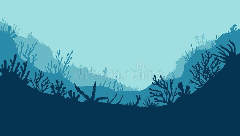 Underwater 1. Underwater scene; vector seascape with reef marine sea bottom silhouette with seaweed, algae and coral; hand drawn realistic ocean background royalty free illustration