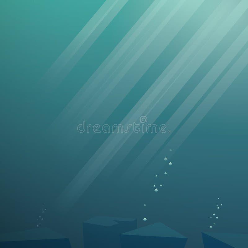 Underwater vector background. Sea scene with vector illustration