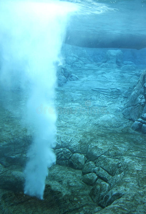 Underwater vent. Rocky underwater landscape with a natural hot vent stream stock image