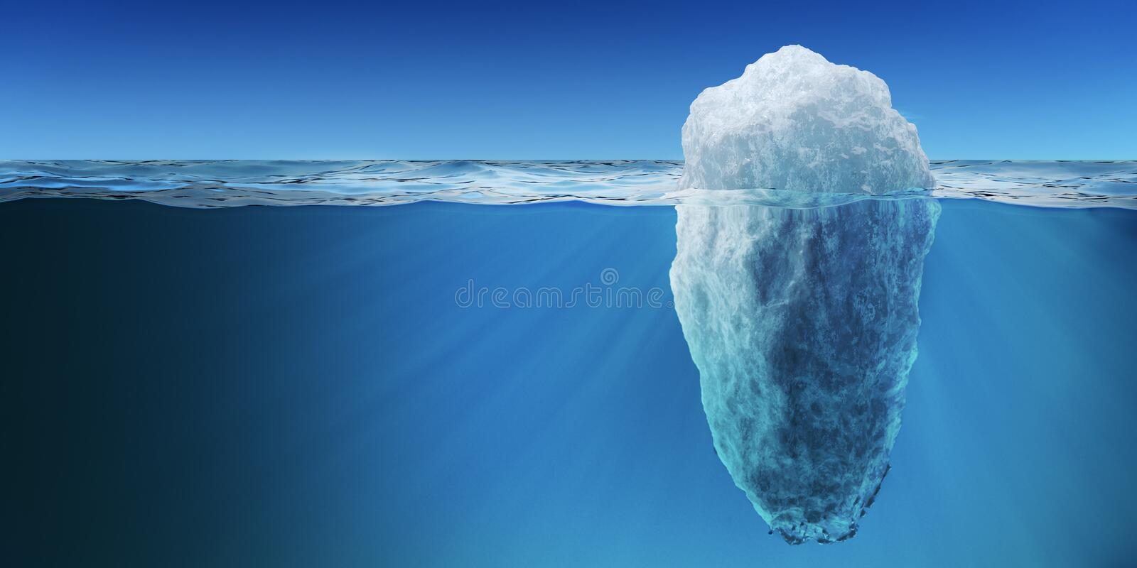 Underwater view on big iceberg floating in ocean. 3D rendered illustration royalty free illustration