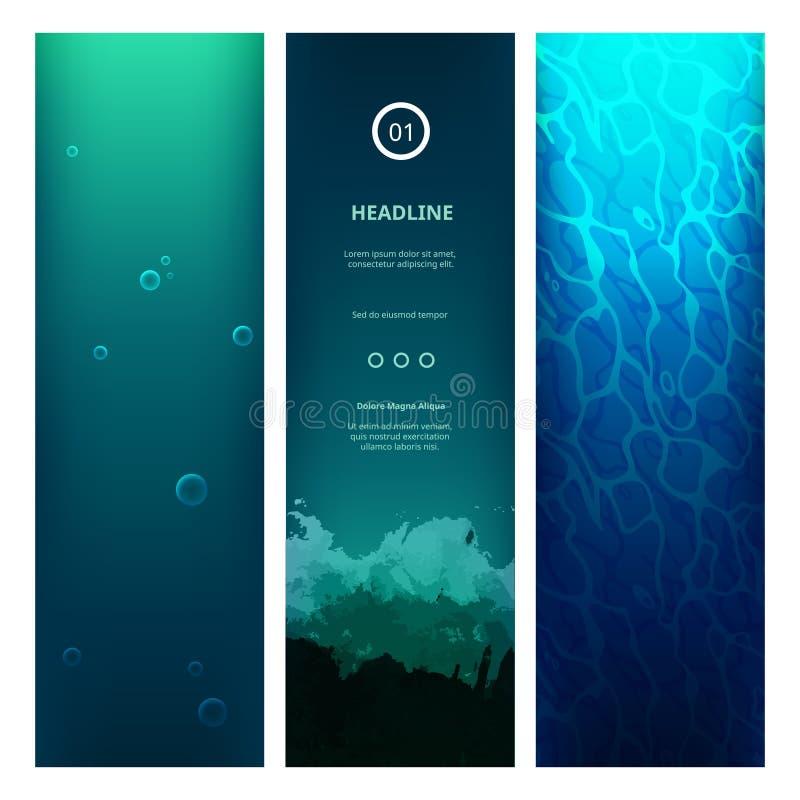 Underwater View Blue Background stock illustration