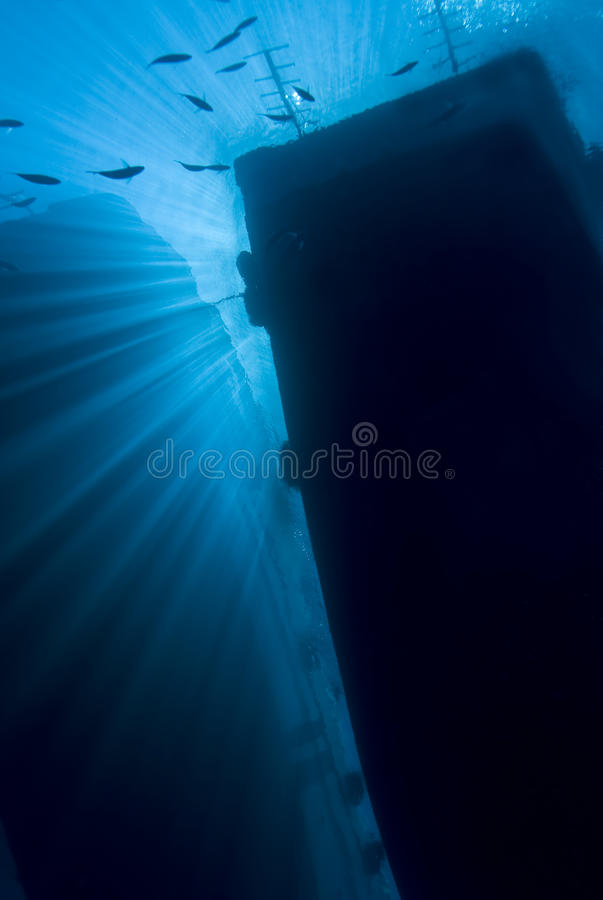 Free Underwater View Of Boat Silhouettes With Sunrays. Stock Photos - 16229053