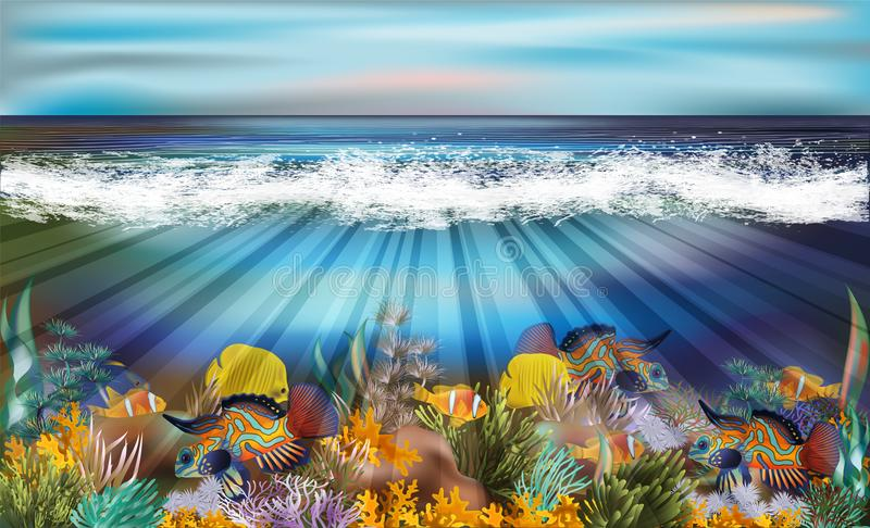 Underwater wallpaper with tropical fish stock illustration
