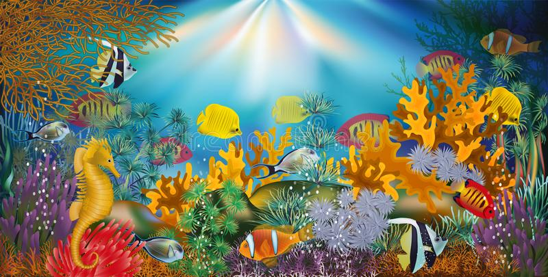 Underwater wallpaper with tropical fish, vector royalty free illustration