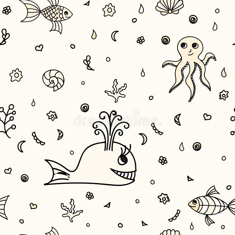 Underwater wildlife, cartoon animals. Vector illustration. Underwater wildlife, cartoon animals. Vector illustration of happy fun sea creatures. Seamless stock illustration