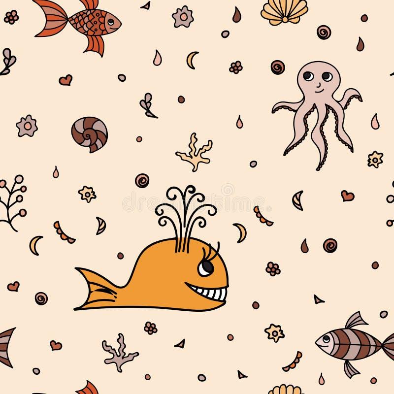 Underwater wildlife, cartoon animals. Vector illustration. Underwater wildlife, cartoon animals. Vector illustration of happy fun sea creatures. Seamless royalty free illustration