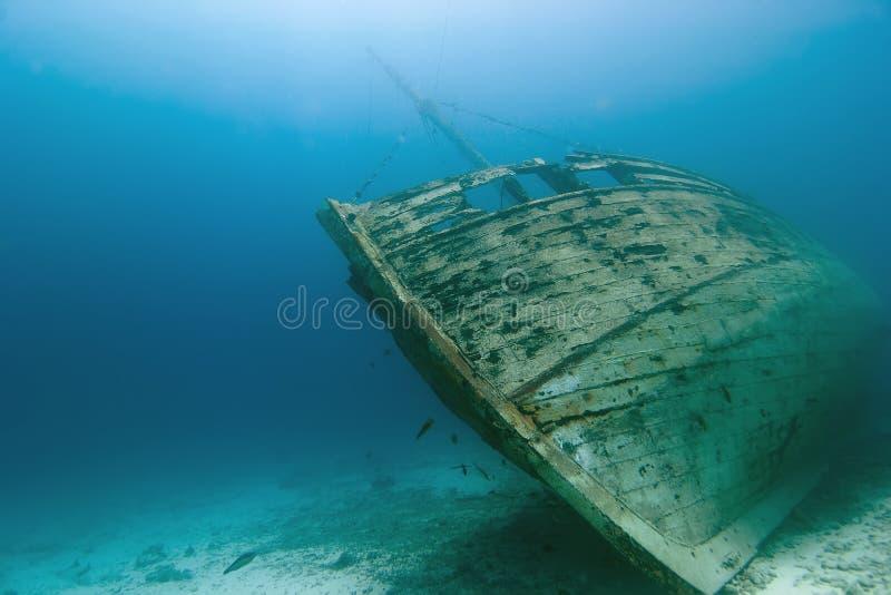 Underwater Wooden Caribbean Shipwreck stock photo