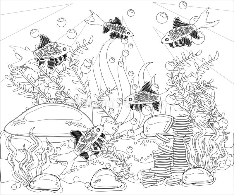 - Underwater World. Anti Stress Coloring Book For Adult. Outline Drawing Coloring  Page. Black And White In Zentangle Style. Sea, Stock Illustration -  Illustration Of Beauty, Ocean: 138538660
