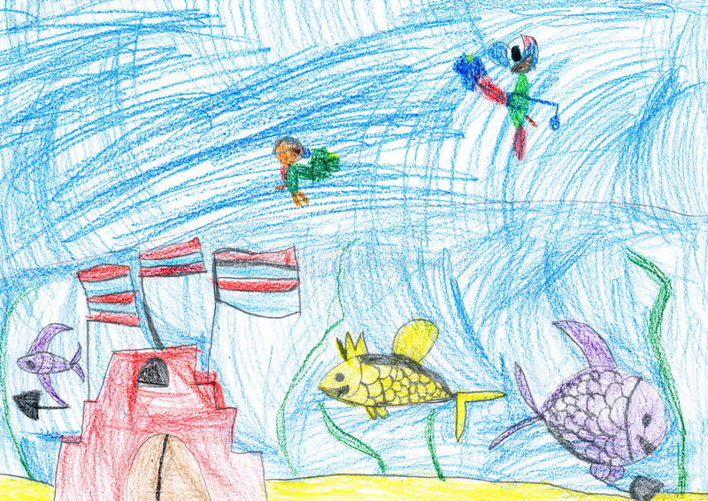 Underwater world. child's drawing. stock illustration