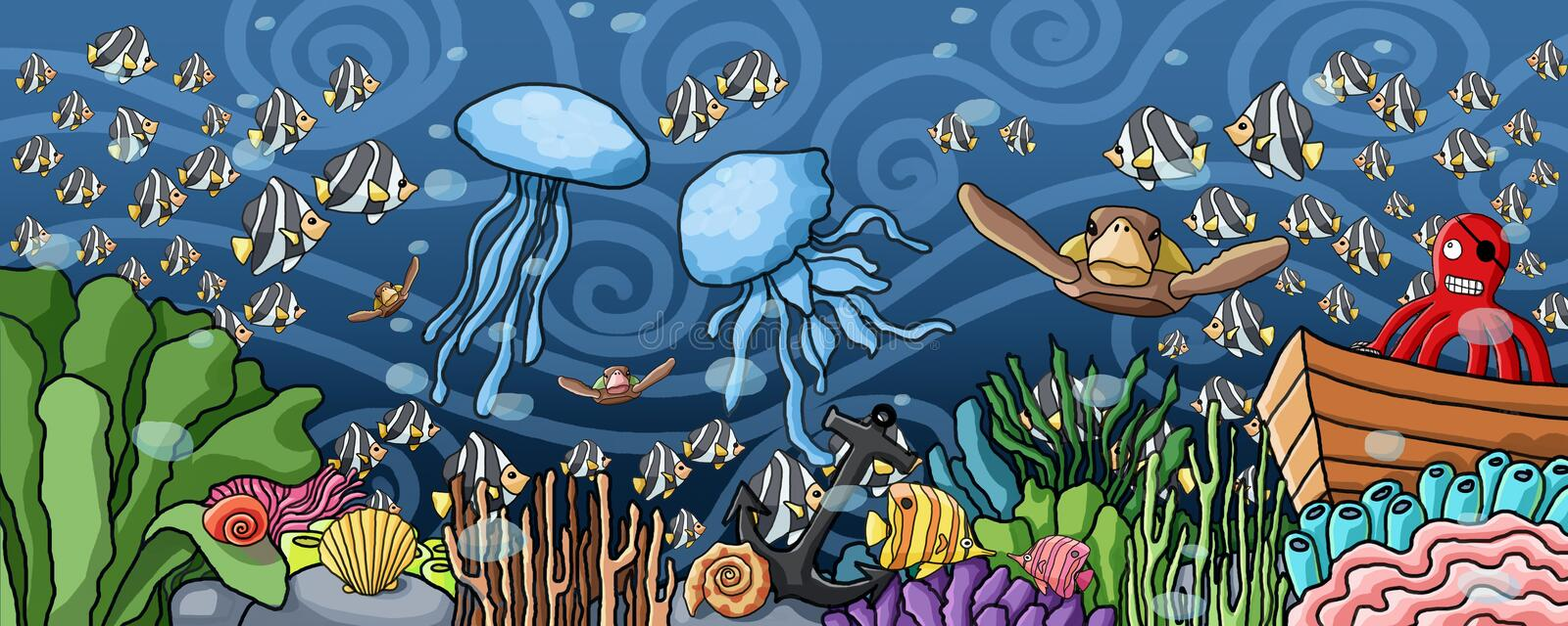 Underwater world colorful and nature paint. Algae and coral reefs are beautiful and colorful vector illustration