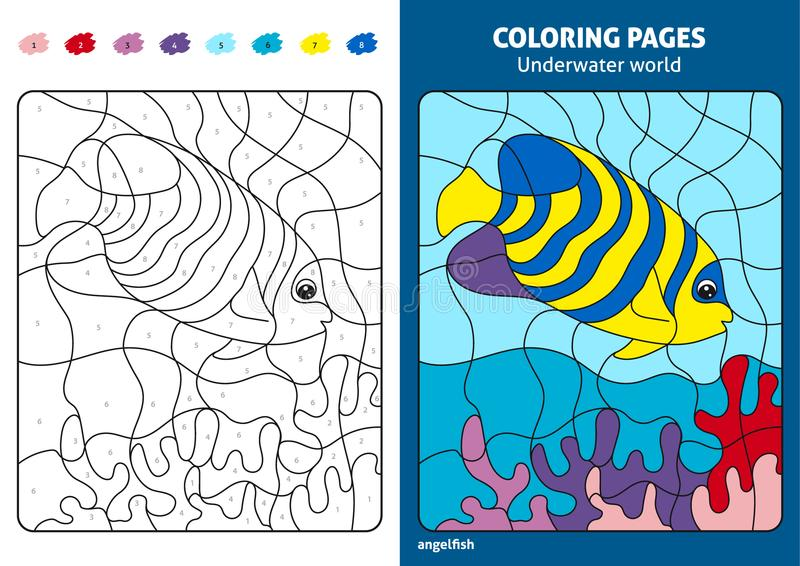 Underwater world coloring page for kids, angelfish. royalty free illustration