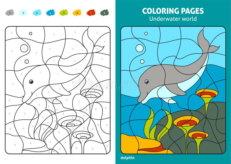 Underwater world coloring page for kids, dolphin. stock illustration