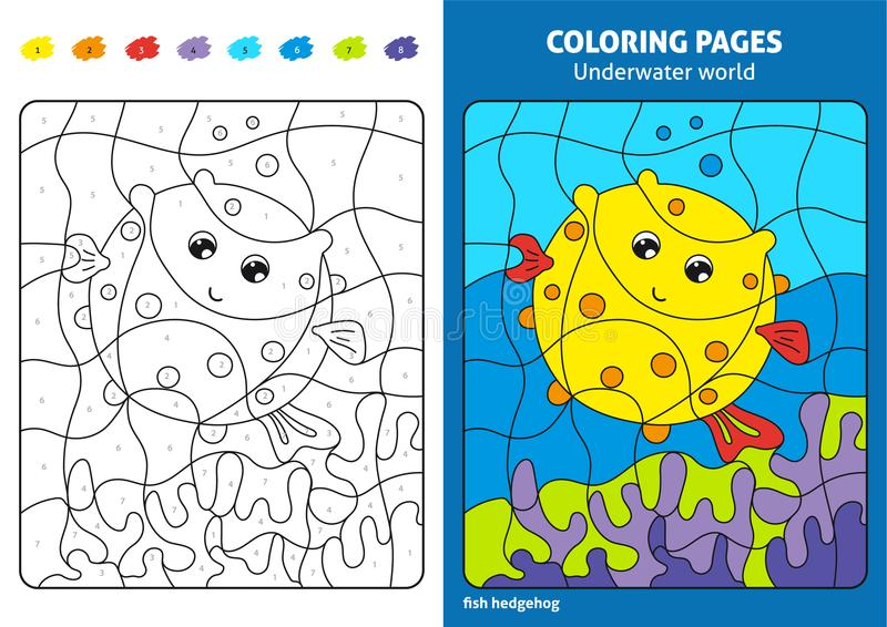 Underwater world coloring page for kids, fish Printable design coloring book vector illustration