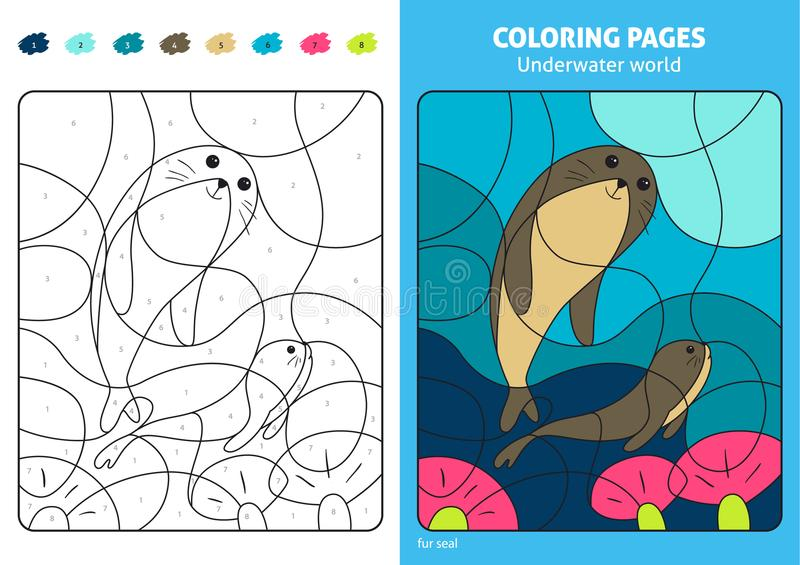 Underwater world coloring page for kids, fur seal. royalty free illustration