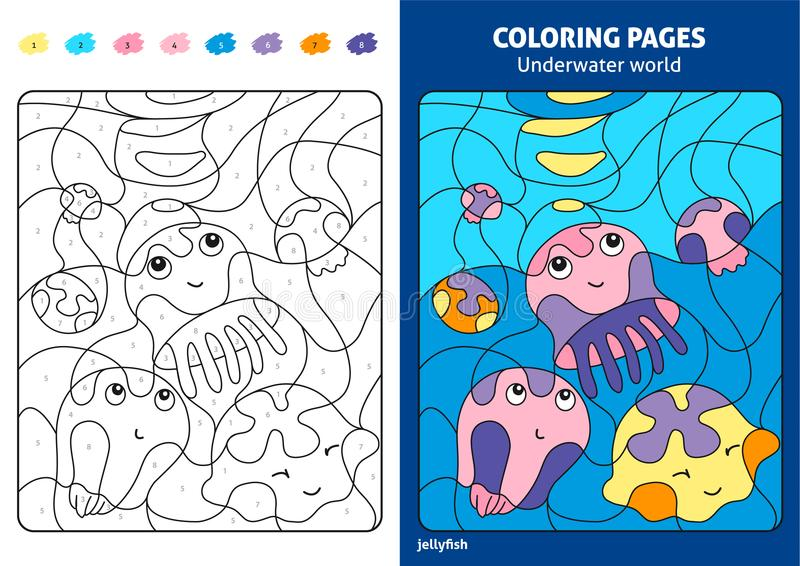 Underwater world coloring page for kids, jellyfish. vector illustration