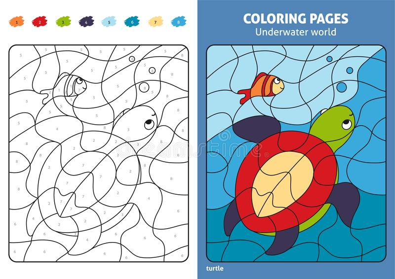 Underwater world coloring page for kids, turtle and fish. stock illustration