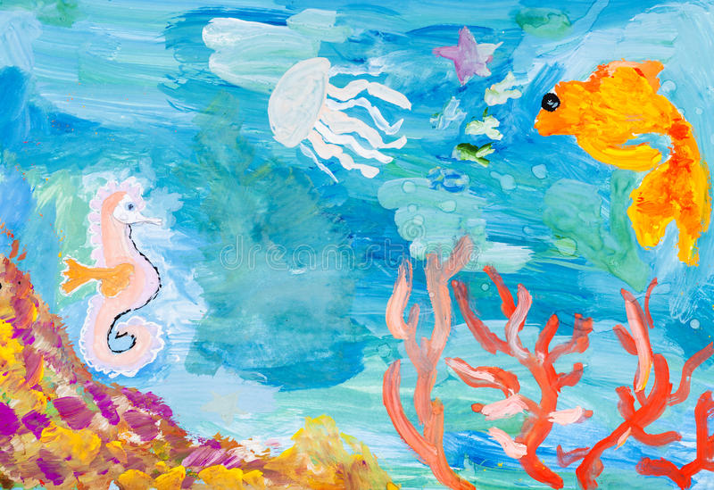 Underwater world of the coral reef. Children painting - underwater world of the coral reef by watercolors stock illustration