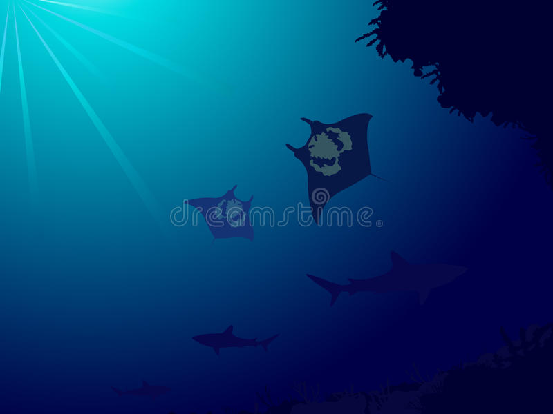 Download Underwater World With Coral Reef, Sharks And Manta Royalty Free Stock Photos - Image: 17385858