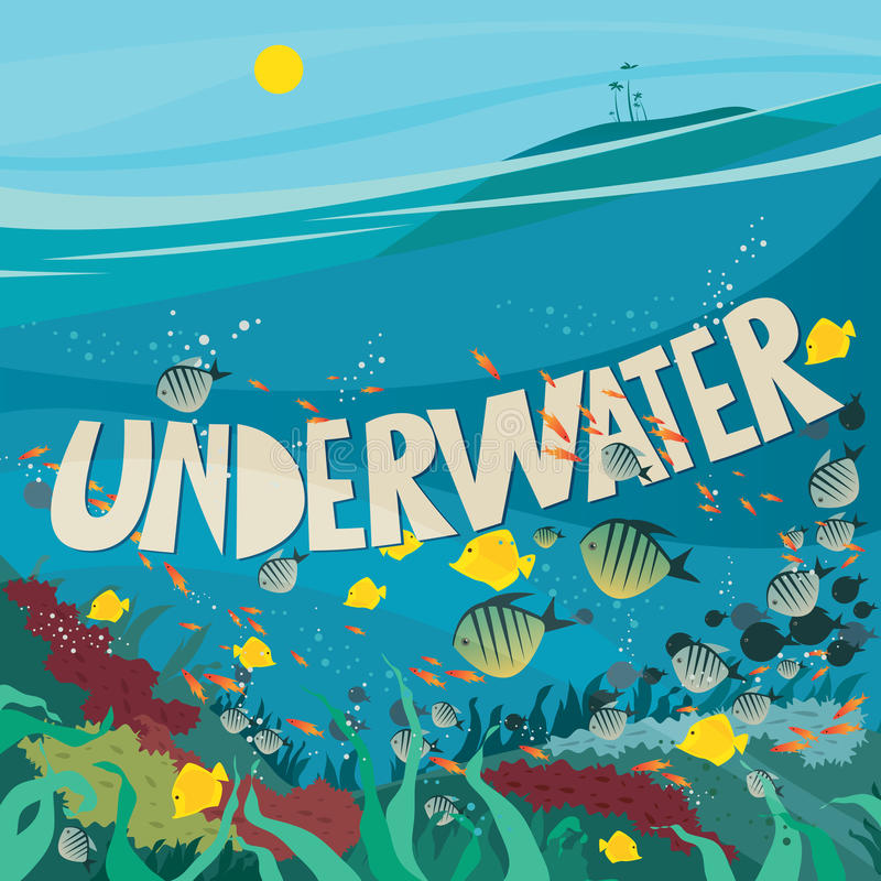 Underwater World With Coral Reef Stock Vector