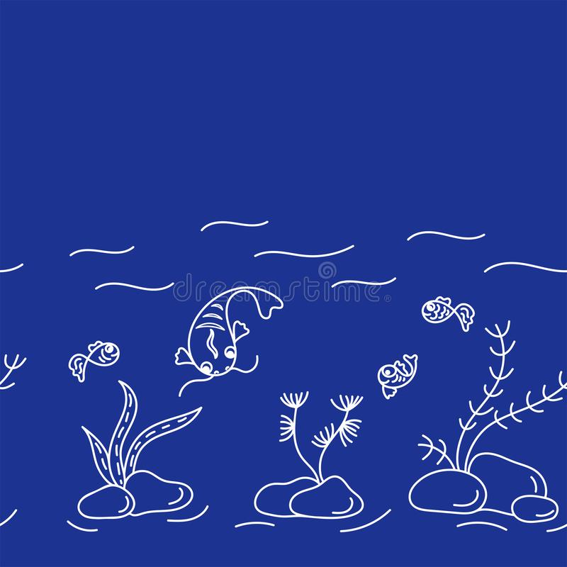 Underwater world, cute fish, plants. Seamless border . Vector hand drawn illustrations on blue background royalty free illustration