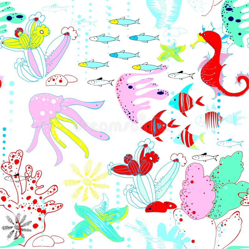 Underwater world with fish, jellyfish, sea horses, sea stars, corals, waterways royalty free illustration