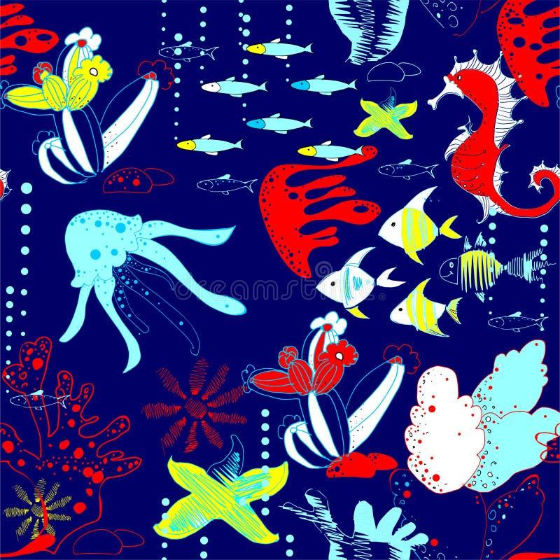 Underwater world with fish, jellyfish, sea horses, sea stars, corals, waterways royalty free illustration
