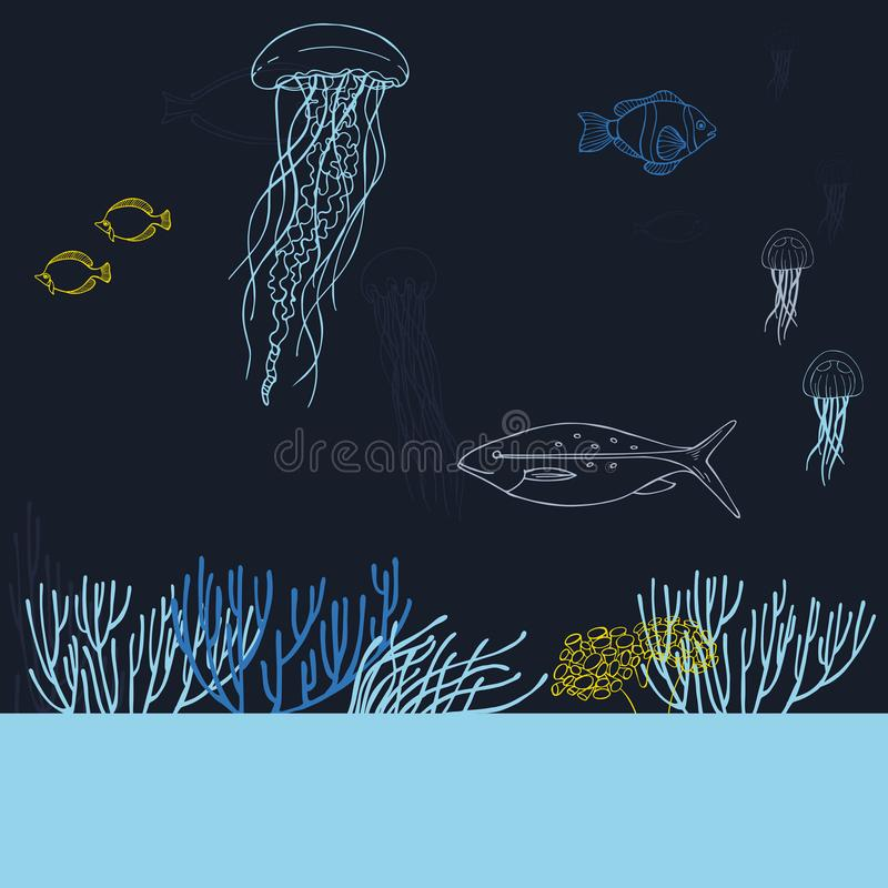 Underwater world. Jellyfish, fish and corals. royalty free illustration