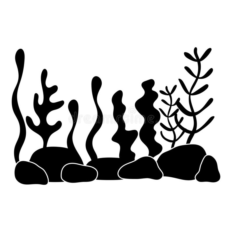Underwater world, landscape with seaweed. plant silhouettes in a flat style. Monochrome, black and white. royalty free illustration