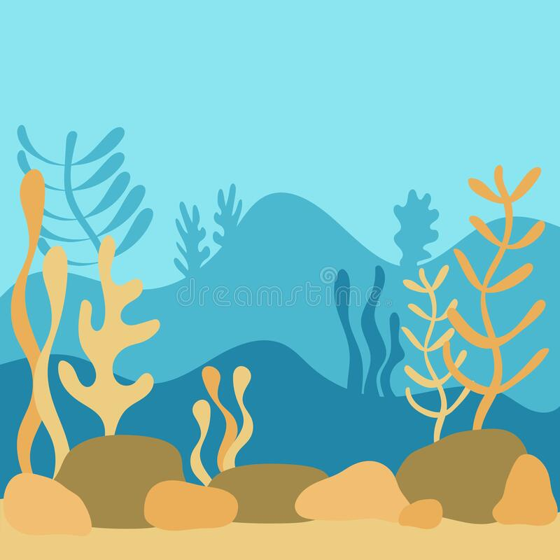 Underwater world, landscape with seaweed. the silhouette of the plants in a flat cartoon style. Hand-drawn vector illustration stock illustration