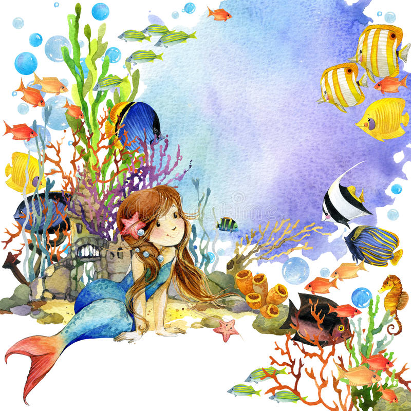 Underwater world. Mermaid and fish coral reef. watercolor illustration for children vector illustration
