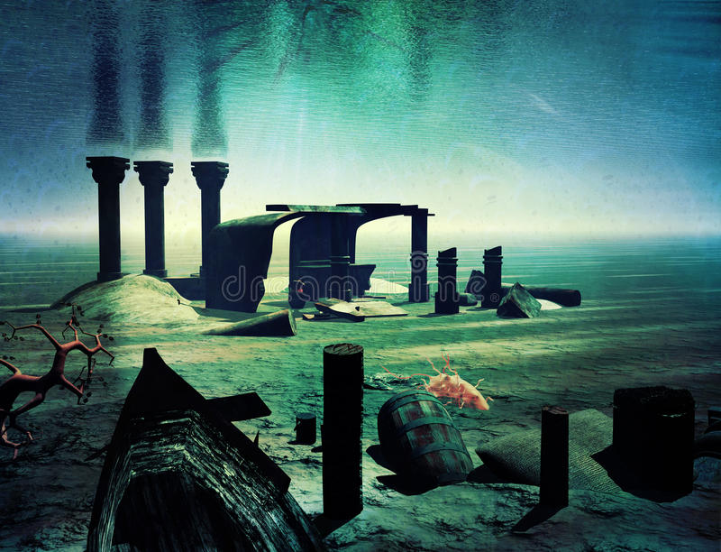 Underwater world and ruins royalty free illustration