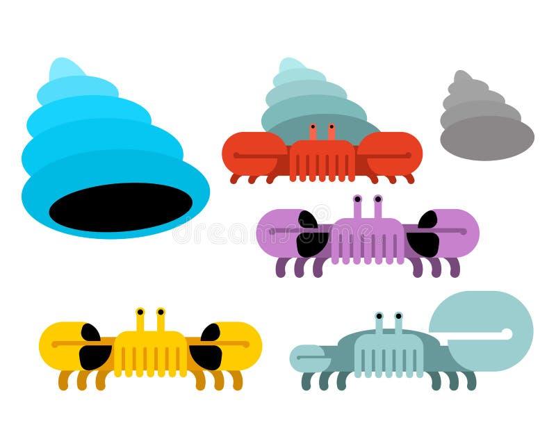 Underwater world set. Shell and crab Vector illustration stock illustration