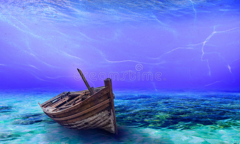 Underwater Wreck Background in the Sea. General illustration royalty free stock photos