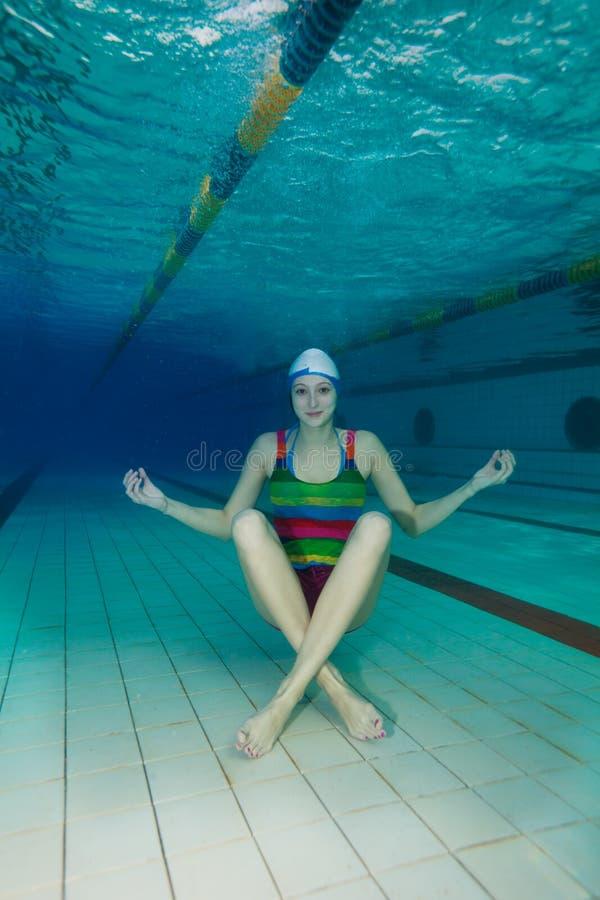 Download Underwater yoga stock photo. Image of meditate, girl - 23782860