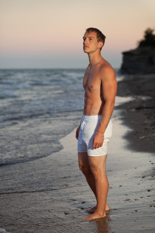 Download Underwear Model on Beach stock image. Image of standing - 20354385