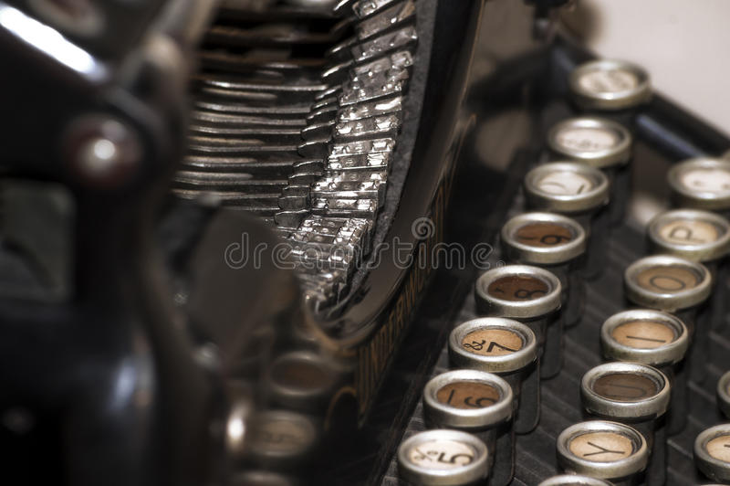 Underwood typing machine. Antique typing machine Underwood closeup stock image