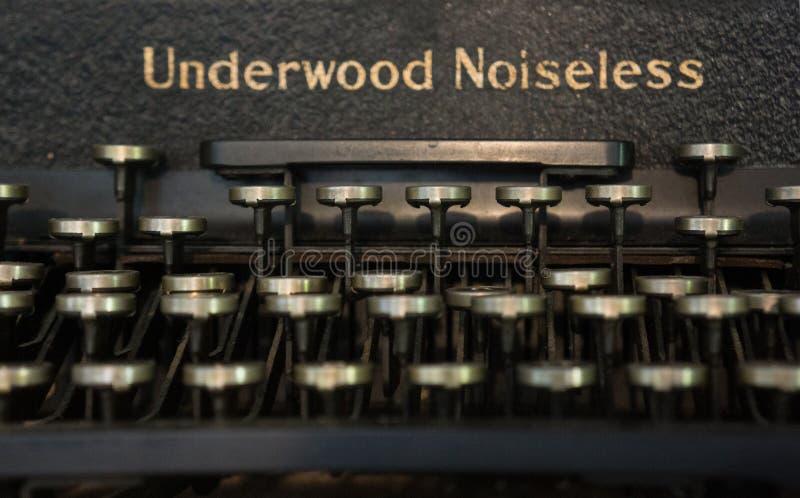 Underwood Uitstekende Geruisloze Schrijfmachine stock afbeelding