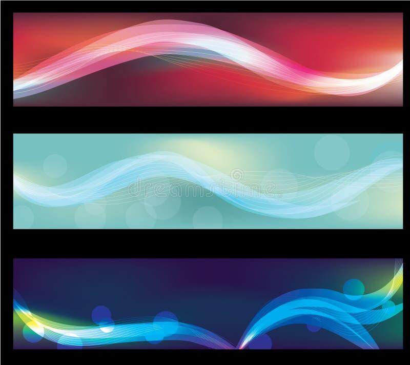 Undeutliche abstrakte Neonlichteffektweb-Fahnen vektor abbildung