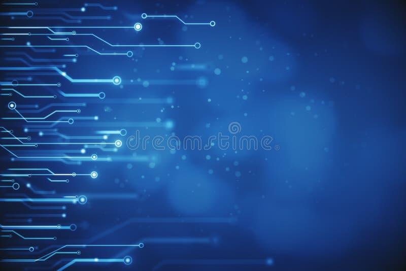 Undeutliche blaue Stromkreistapete stock abbildung