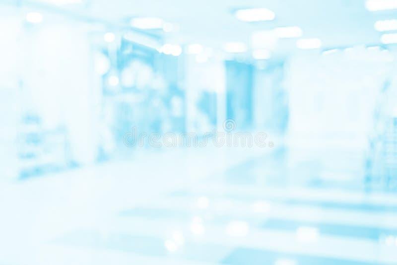 Undeutlicher Hintergrund des Krankenhausbüros Medizinischer blauer Hintergrund des Geschäfts Medizinhandel stockfotografie