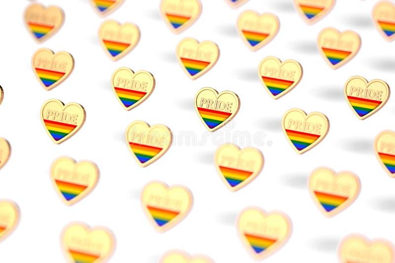 Undeutlicher Nahaufnahmeschuß auf goldenem Herzen mit Regenbogen und Wort STOLZ innerhalb des Musters Juni als Monat des Stolzkon vektor abbildung
