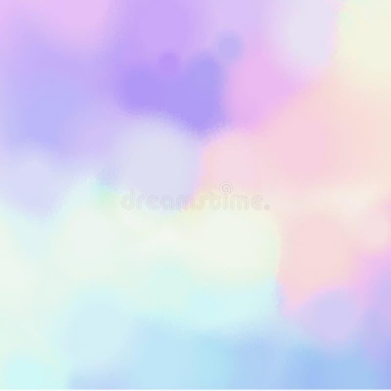 Undeutliches geometrisches Stellenmuster Abstrakte Aquarellbeschaffenheit Blauer lila gelber Hintergrund des Rosas vektor abbildung