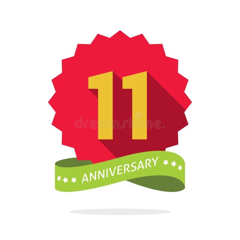Undicesimo distintivo di anniversario con ombra su starburst rosso illustrazione vettoriale