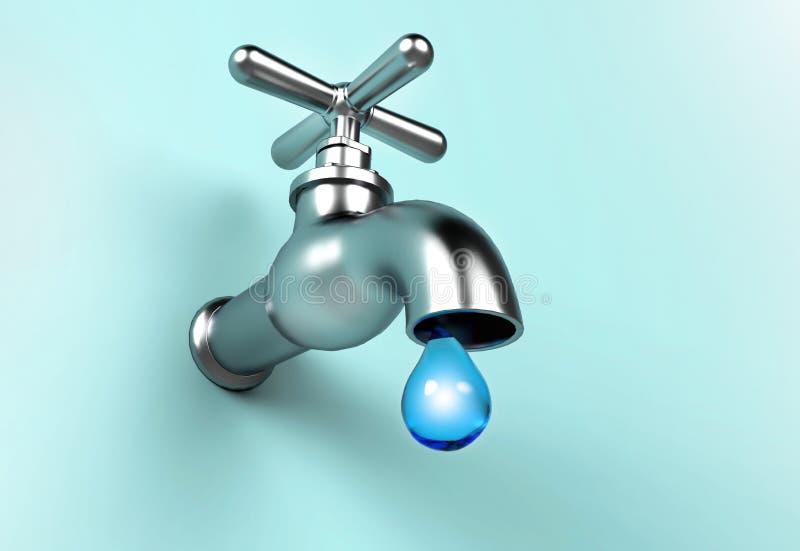 Undichter Hahn und Wassertropfen Außer Wasserkonzept stock abbildung