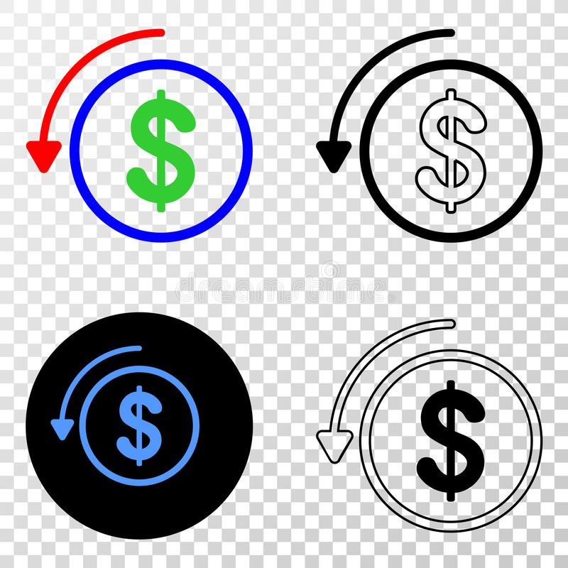 Undo Payment Vector EPS Icon with Contour Version stock illustration