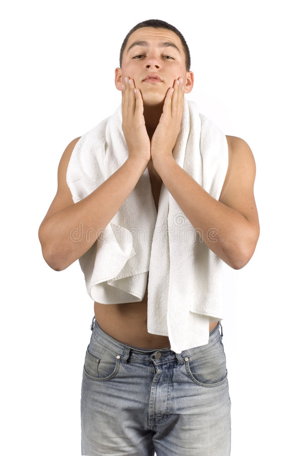 Download Undressed man with towel stock image. Image of character - 1384267