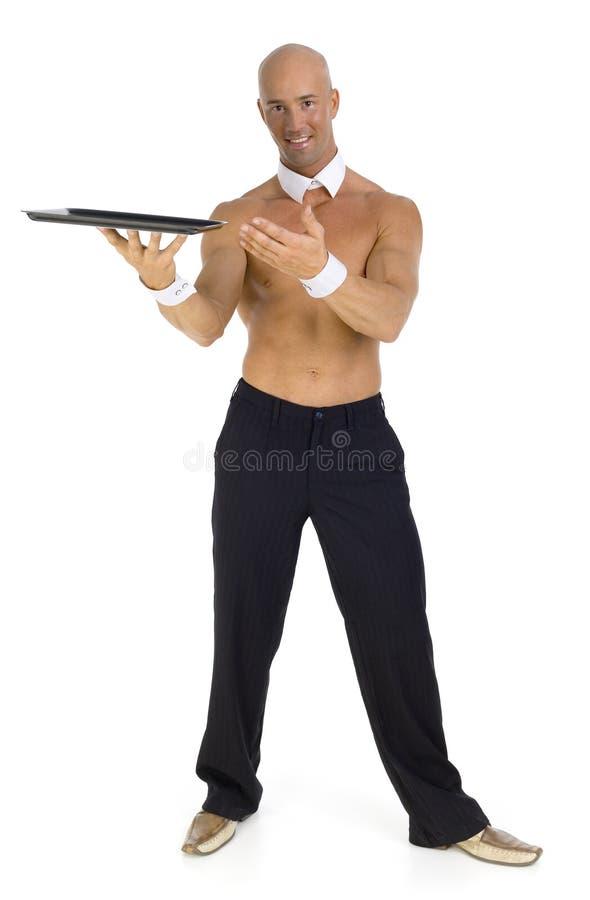 Undressed waiter stock photo