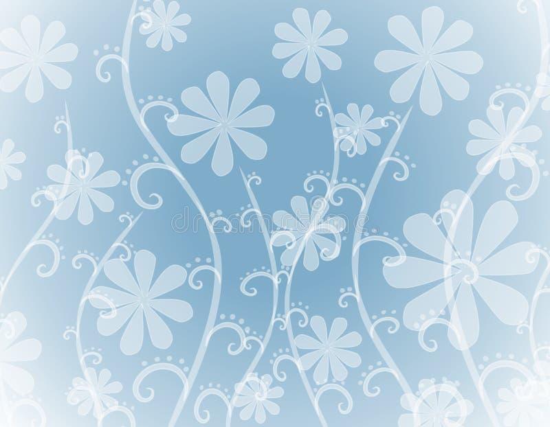 Undurchlässige weiße Blumen auf blauem Hintergrund lizenzfreie abbildung