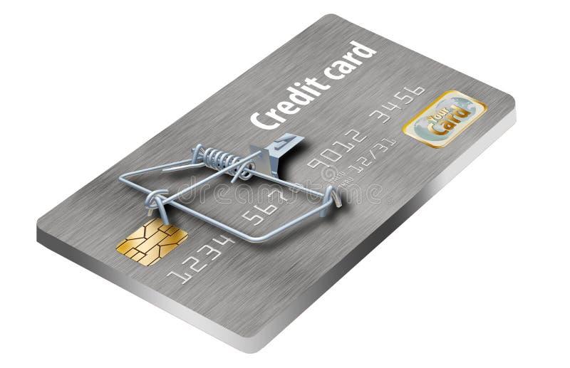 Undvik kreditkortfällor, som denna som ser som en kreditkort som vänds in i en råttfälla royaltyfri bild