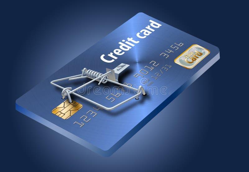 Undvik kreditkortfällor, som denna som ser som en kreditkort som vänds in i en råttfälla stock illustrationer